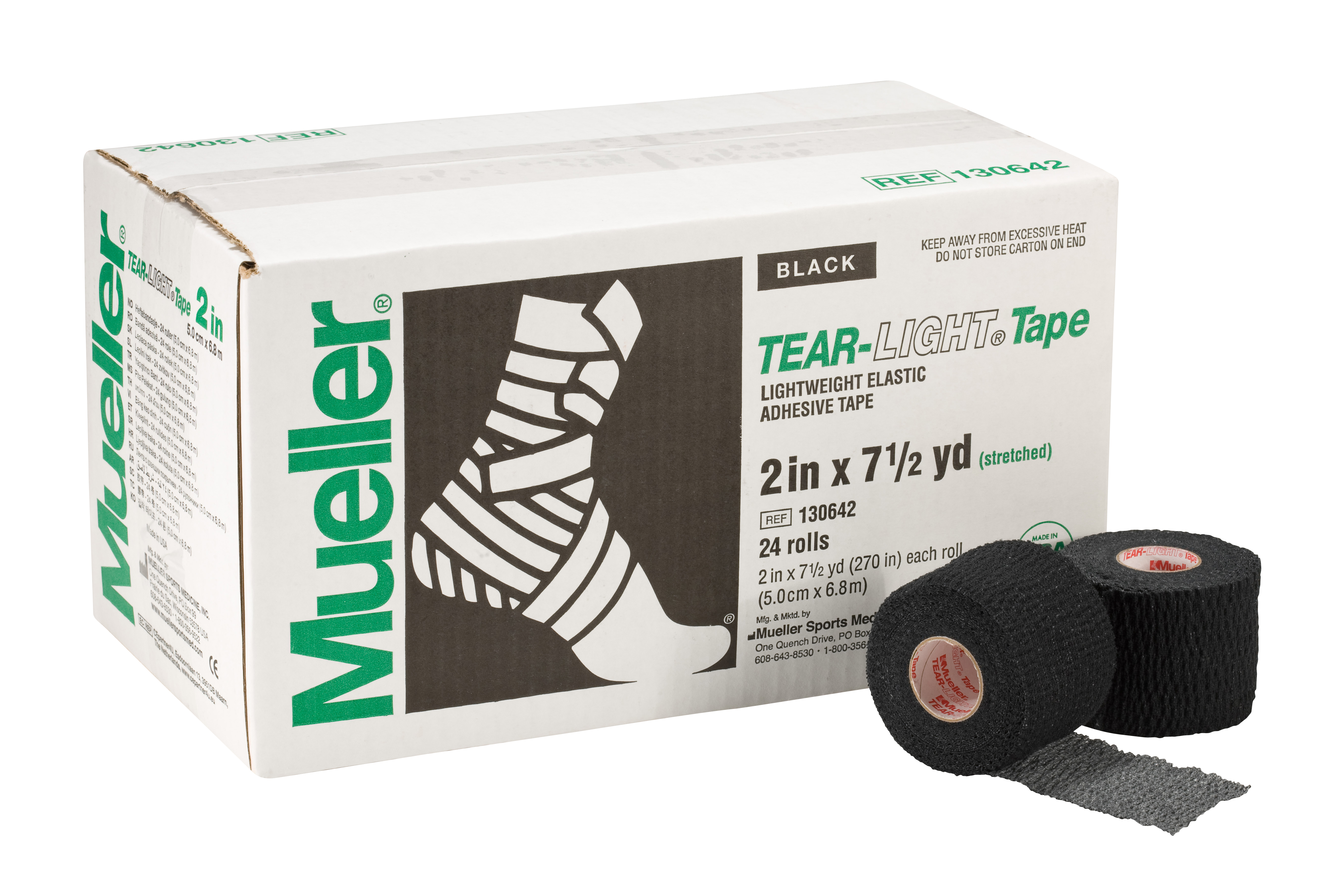Mueller Tear-Light-Tape 6,9m - 5cm Schwarz 24 Rollen