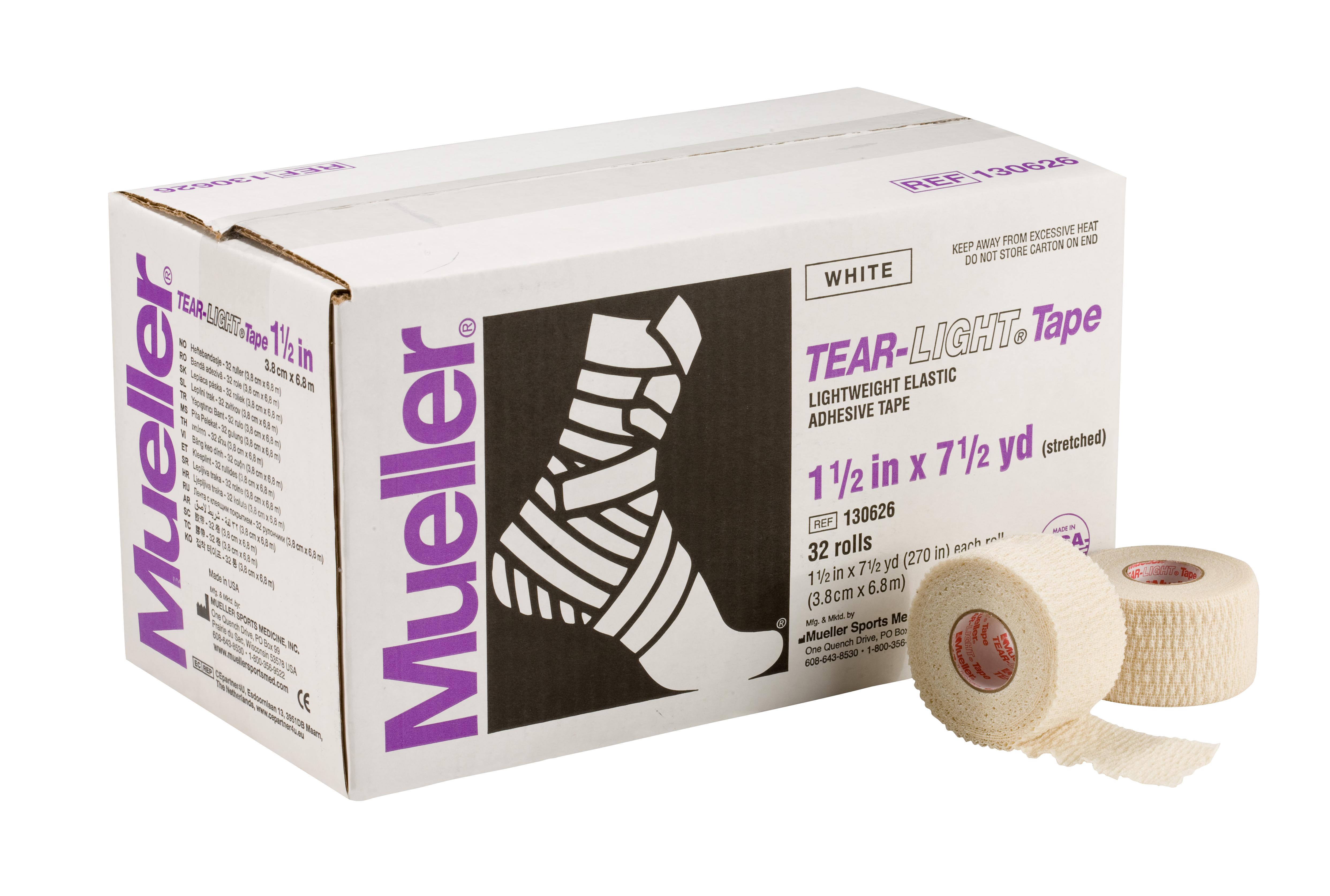 Mueller Tear-Light-Tape 6,9m - 3,8cm Weiß 32 Rollen