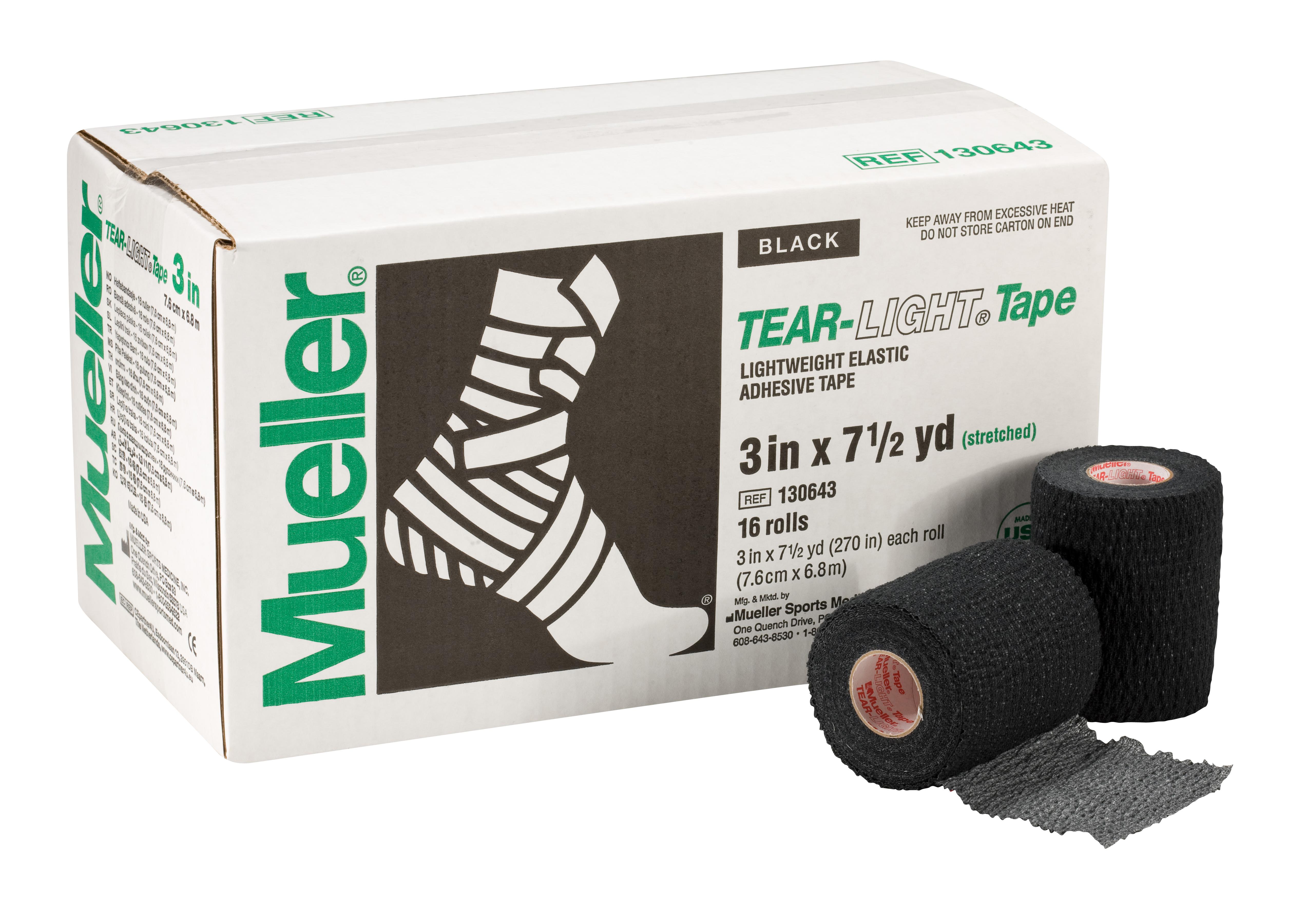 Mueller Tear-Light-Tape 6,9m - 7,5cm Schwarz 16 Rollen