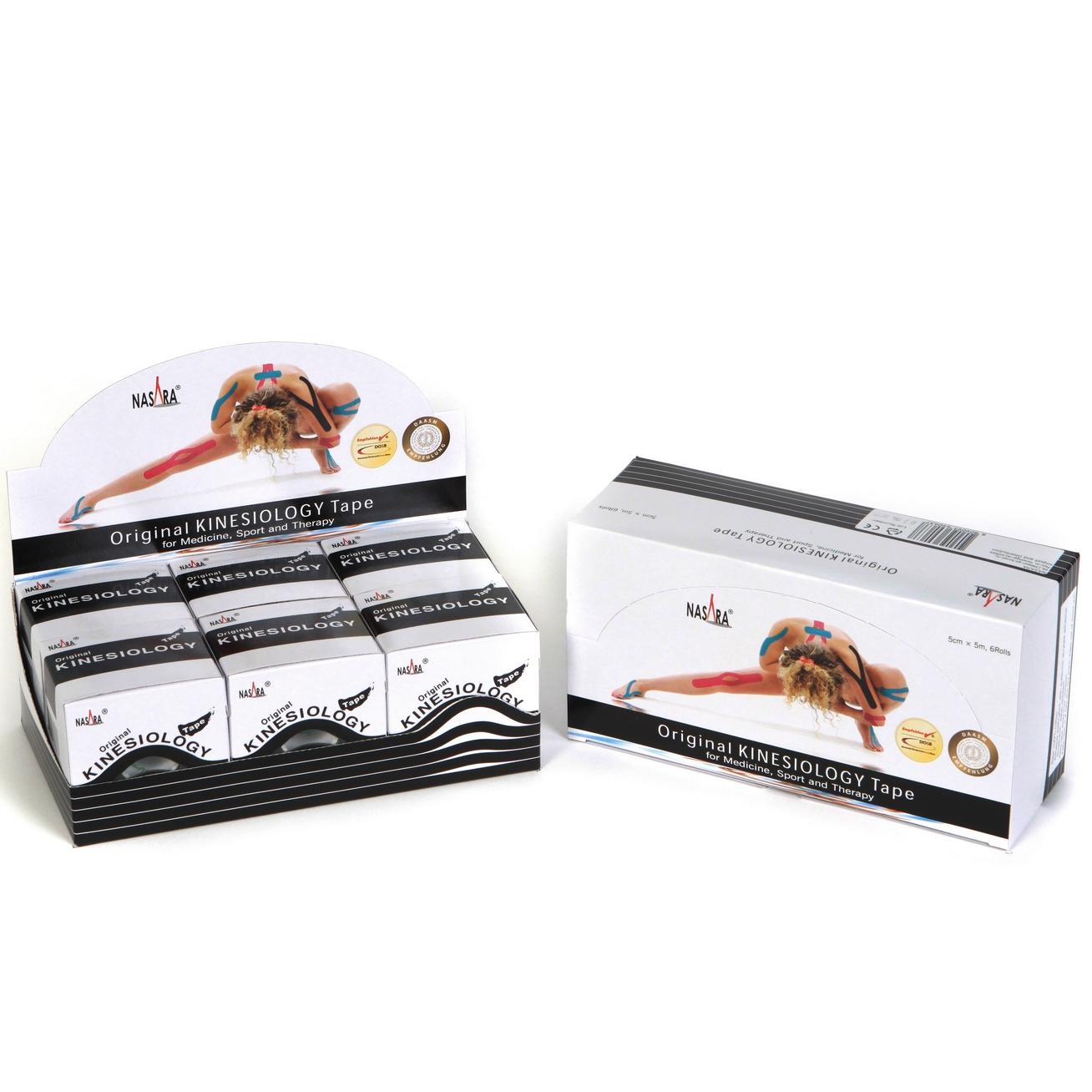 Nasara Kinesiology Tape 6er Box - Schwarz